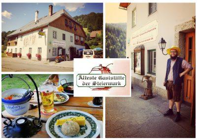 Collage Gasthaus Winter, Außenansicht Gebäude und Speisen